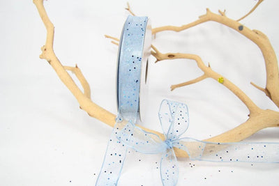 25 yards- Light Blue Glitter Wire Ribbon 5/8""