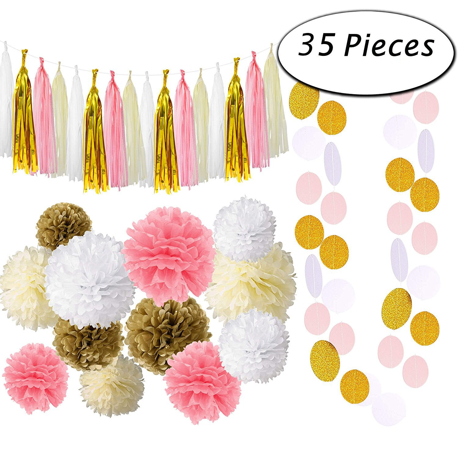 Pink and Gold Party Supplies with Tissue Pom Tassel Garland Party Decorations (35 pcs)