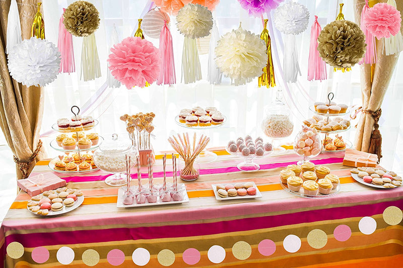 Pink And Gold Party Supplies With Tissue Pom Tassel Garland Party Decorations 35 Pcs