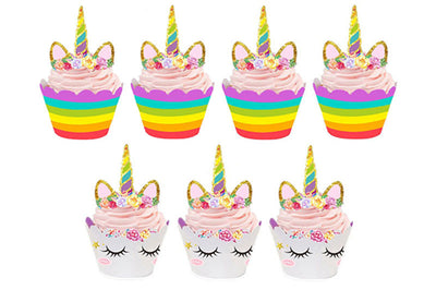 Unicorn Cupcake Toppers and Wrappers Double Sided (Unicorn/Rainbow) (12 pcs)