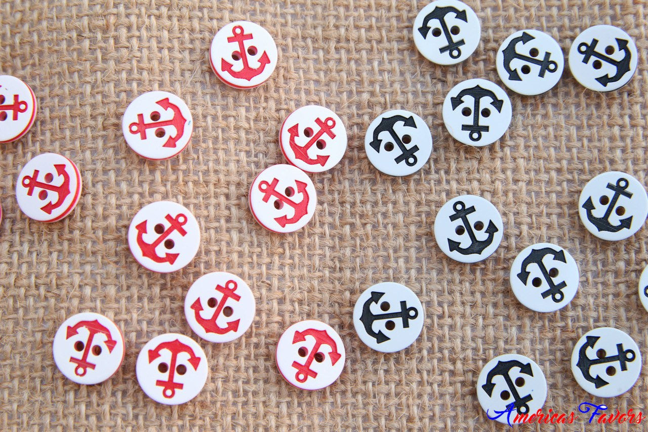 "12 pcs- 1/2"" Anchor Buttons (Navy/Red)"