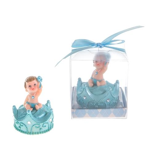 Baby Boy Sitting on Top of Crown with Pacifier Poly Resin in Gift/Favor Box
