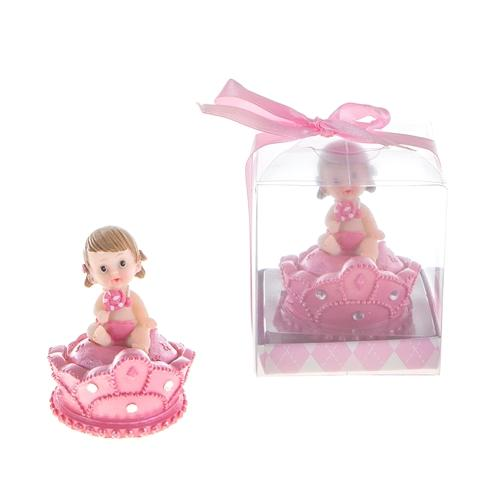 Princess Baby Girl Sitting on Top of Crown with Rattle Poly Resin in Gift/Favor Box