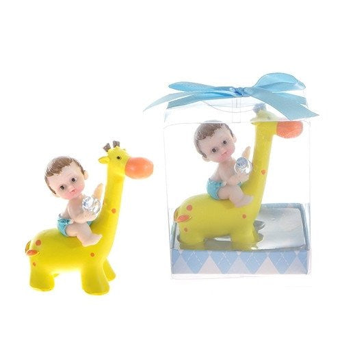1 pc- Baby with Pacifier on Giraffe Poly Resin in Gift Box