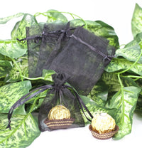 "12 pcs-Black Organza Pouches 3""x 4"""