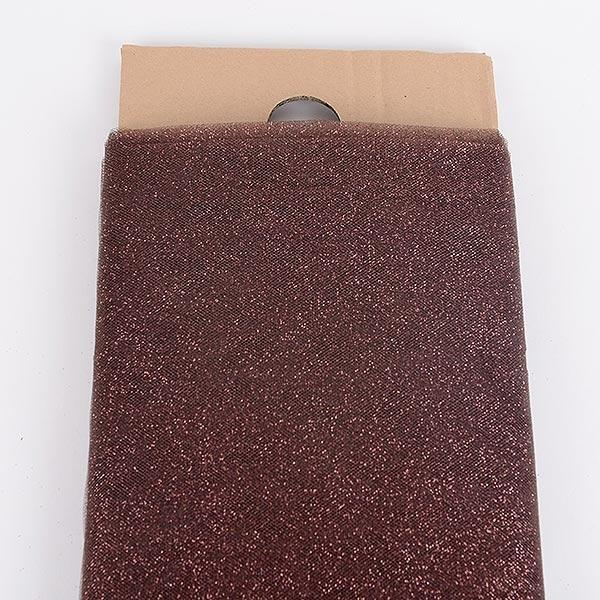 "Brown/Chocolate Glitter Tulle 54"" x 10 Yards"
