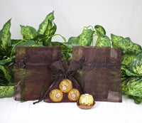 "12 pcs-Brown Organza Pouches 4""x 5"""