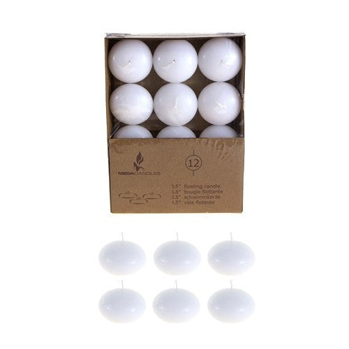 "12 pcs- 1.5"" Flat White Unscented Floating Candles"