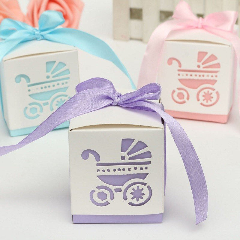 Laser Cut Carriage Party Favor Boxes With Ribbon (12 Pieces) - Americasfavors