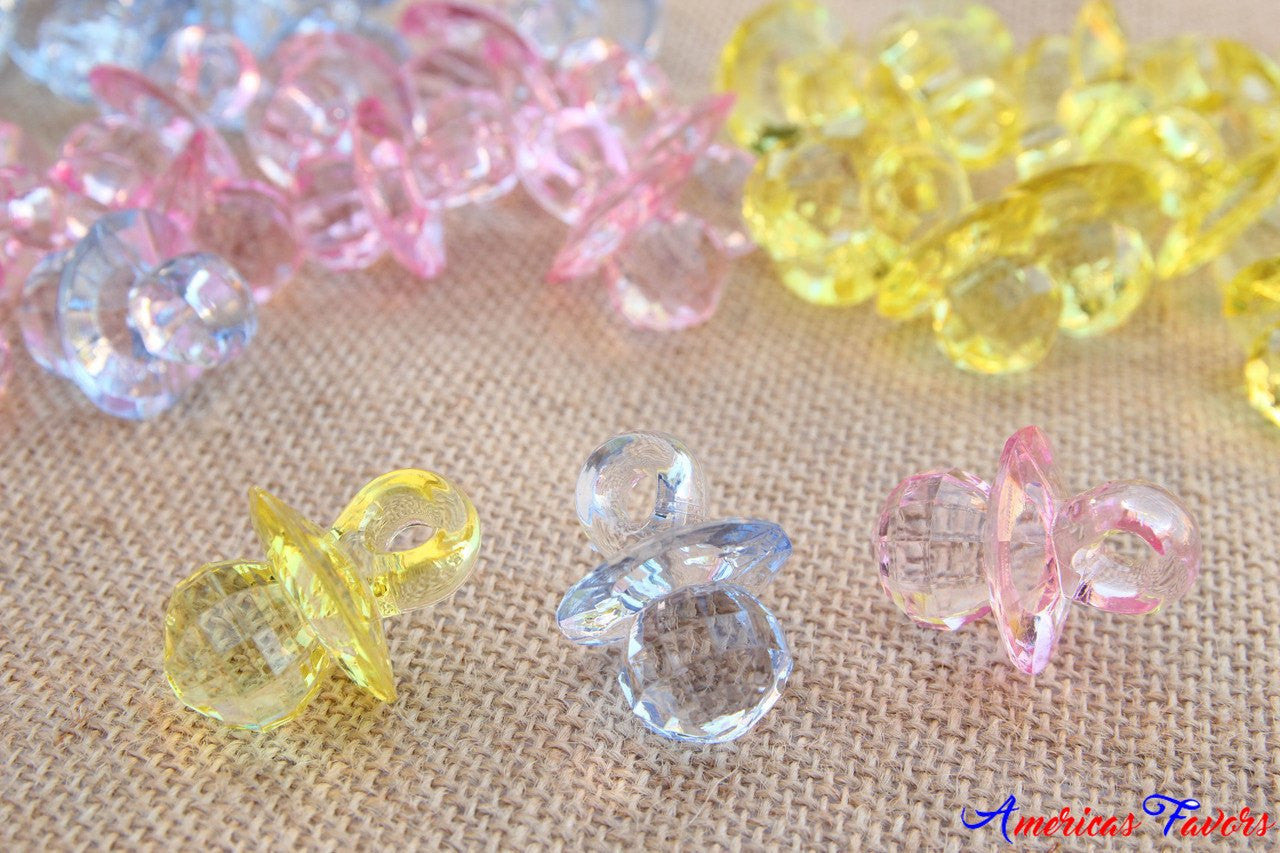 "12 pcs- 1.5"" Clear Acrylic Pacifiers (Grid Pattern)"