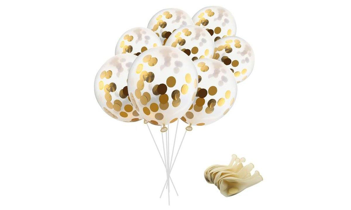 12 inches Party Balloons With Gold Paper Confetti Dots For Party Decorations (20 pcs)