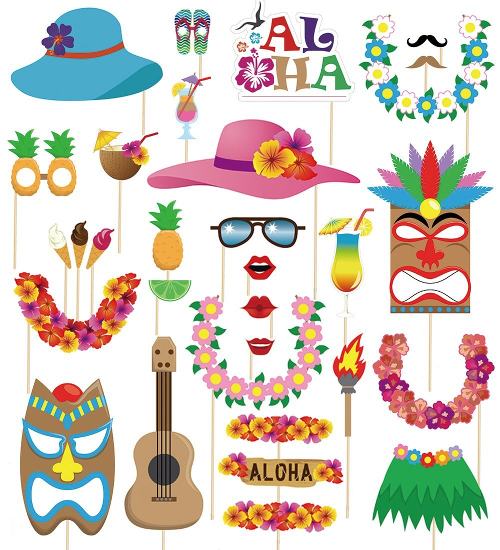 60 pcs Hawaiian/Tropical/Tiki/Luau Photo Booth Props