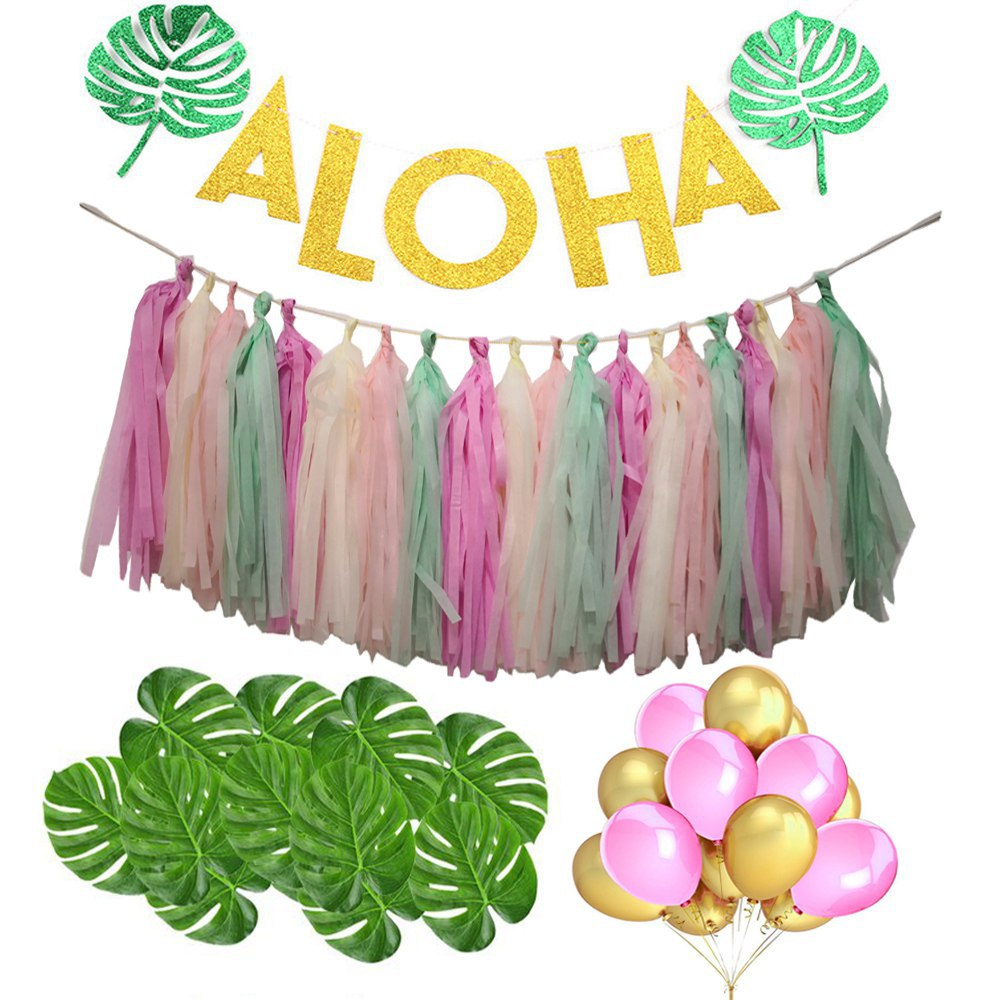 Hawaiian/Tropical Theme 'Aloha' Banner, Tassels, Balloons & Monstera Party Set