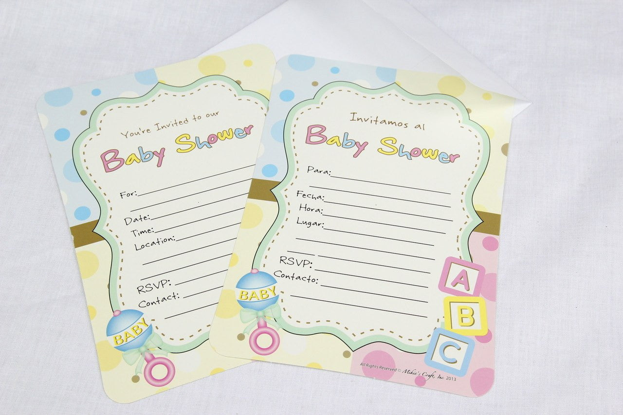 12 pcs-Baby Shower Invitation (Blocks and Rattle) English