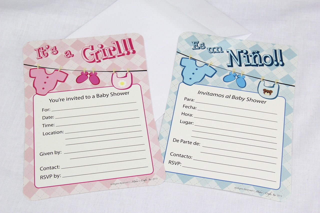 12 pcs-Girl Baby Shower Invitation (Baby Clothes) Spanish