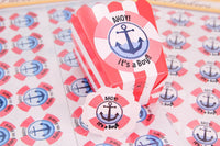24 pcs (Sm) or 12 pcs (Lg)-Nautical Stickers (Ahoy! Baby on Board)