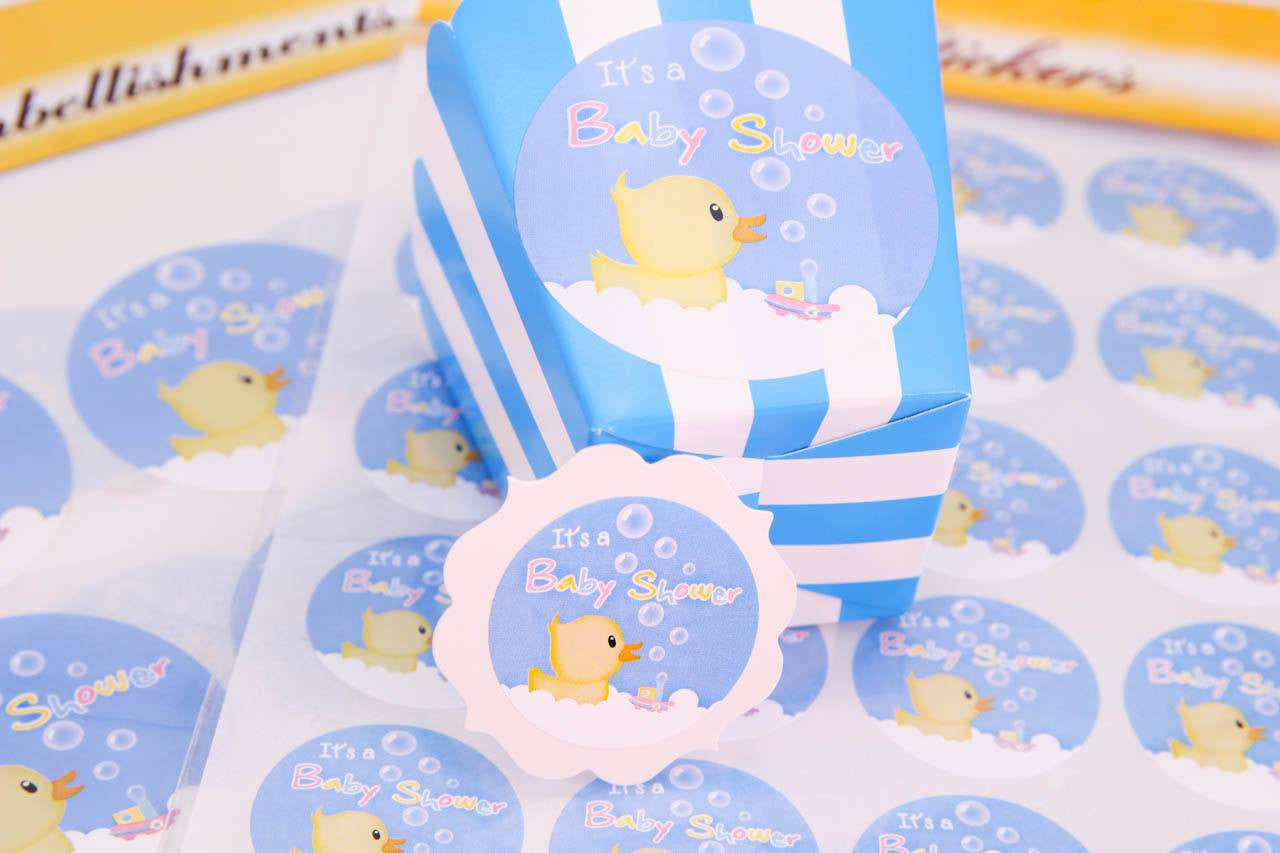24 pcs (Sm) or 12 pcs (Lg)- Duck Baby Shower Stickers