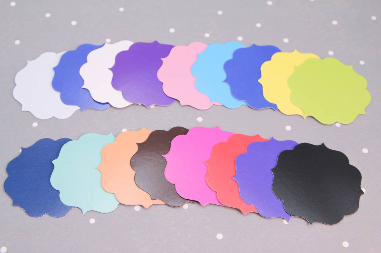 "12 piece - 1.75"" Paper Cloud Die-cuts (Glossy) - Multi-Use - Tags"
