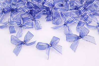 50 pcs-Premade Transparent Sparkling Bow