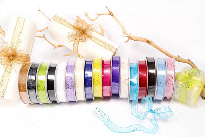 25 yards- Ivory Glitter Wire Ribbon 5/8""