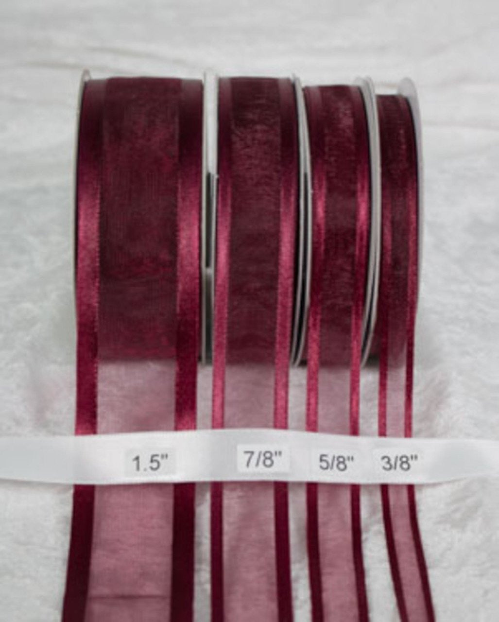 "25 yards-Burgundy w/ Satin Trim Ribbon (3/8"", 5/8"", 7/8"", 1.5"" )"