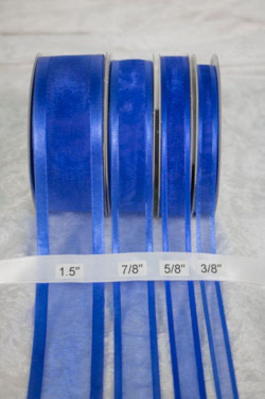 "25 yards-Royal Blue w/ Satin Trim Ribbon (3/8"", 5/8"", 7/8"", 1.5"" )"