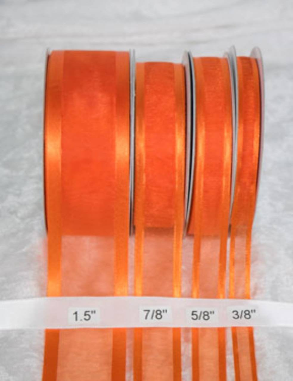 "25 yards-Orange w/ Satin Trim Ribbon (3/8"", 5/8"", 7/8"", 1.5"" )"