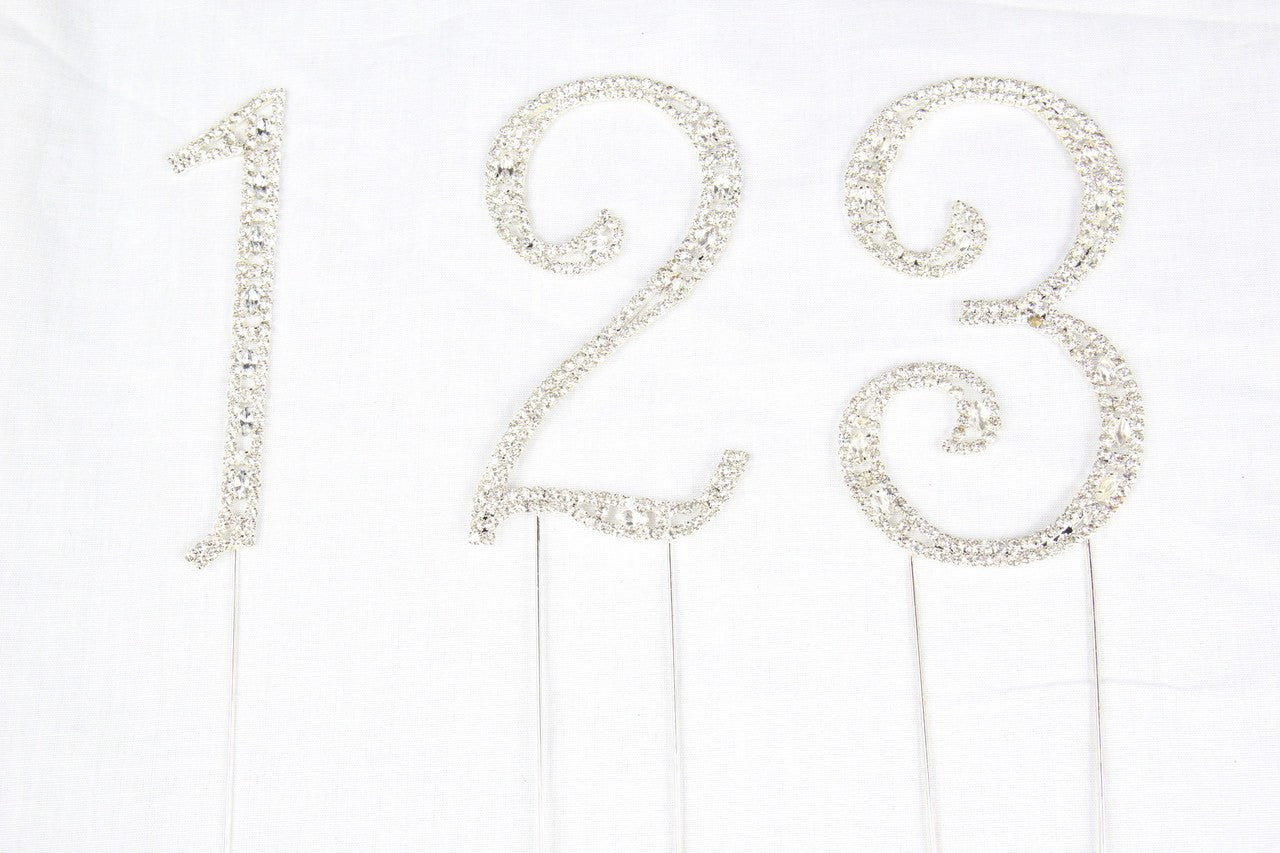 1 pc-Rhinestone Numbers Cake Topper (0-9)