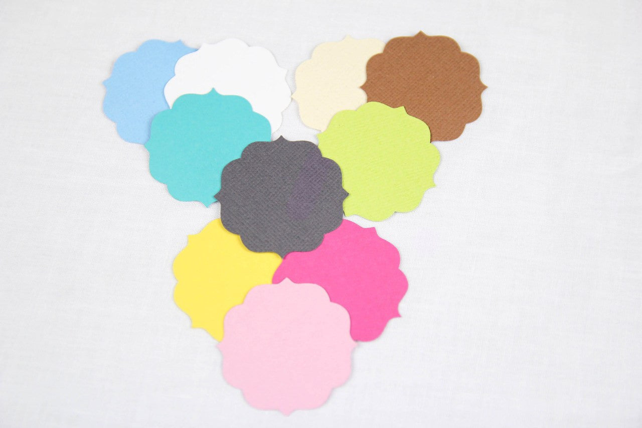 "12 piece - 1.75"" Paper Cloud Die-cuts (Non-Glossy) - Multi-Use - Tags"
