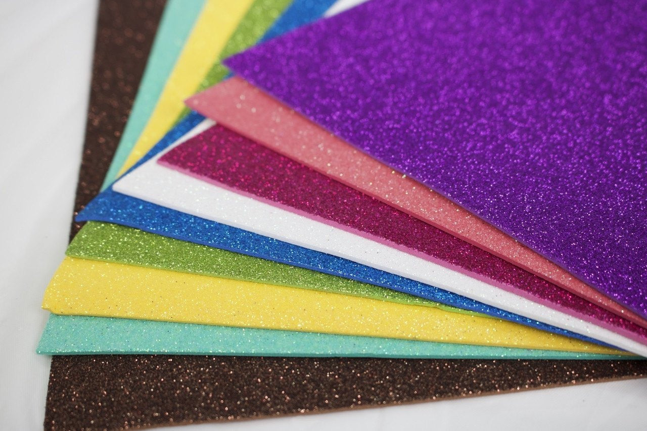 10 pcs-Glittered Colored Foam Sheets
