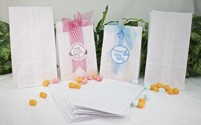 50 pcs - White Paper Goody Bags