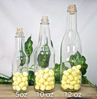 12 pieces- Glass Bottles (5 oz, 10 oz & 12 oz)