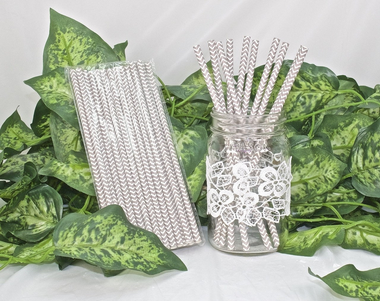 25 pcs-Paper Straws (Grey Chevron)