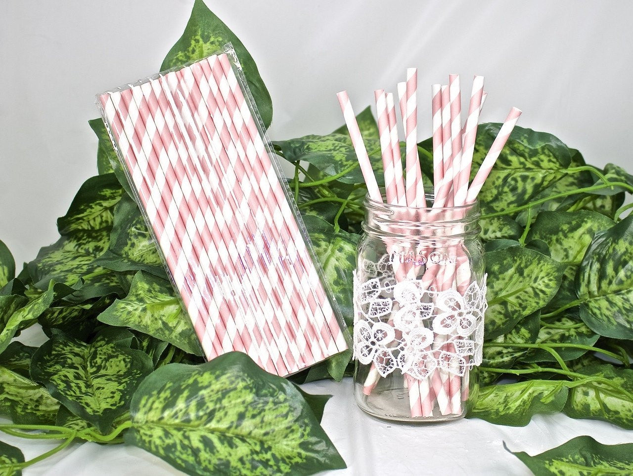 25 pcs-Paper Straws (Pink Stripes)