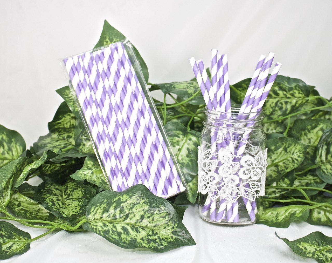 25 pcs-Paper Straws (Lavender Stripes)