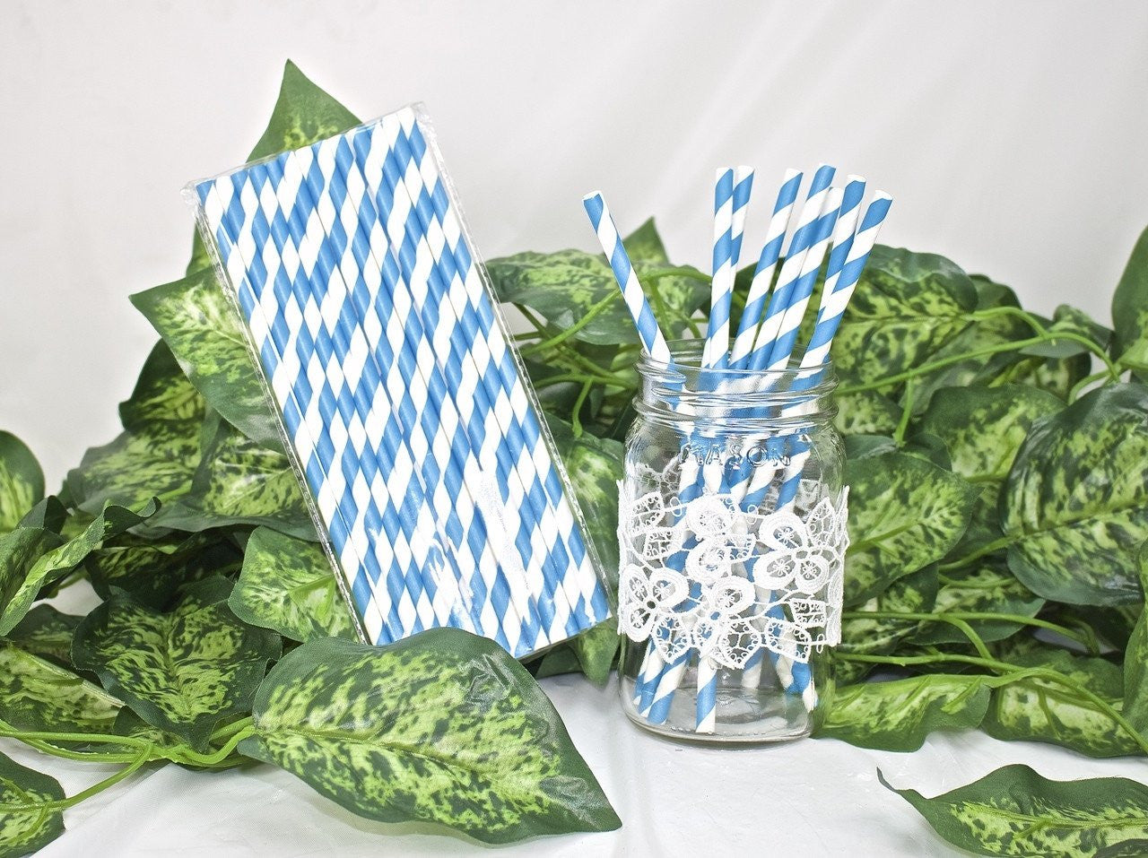 25 pcs-Paper Straws (Blue Stripes)