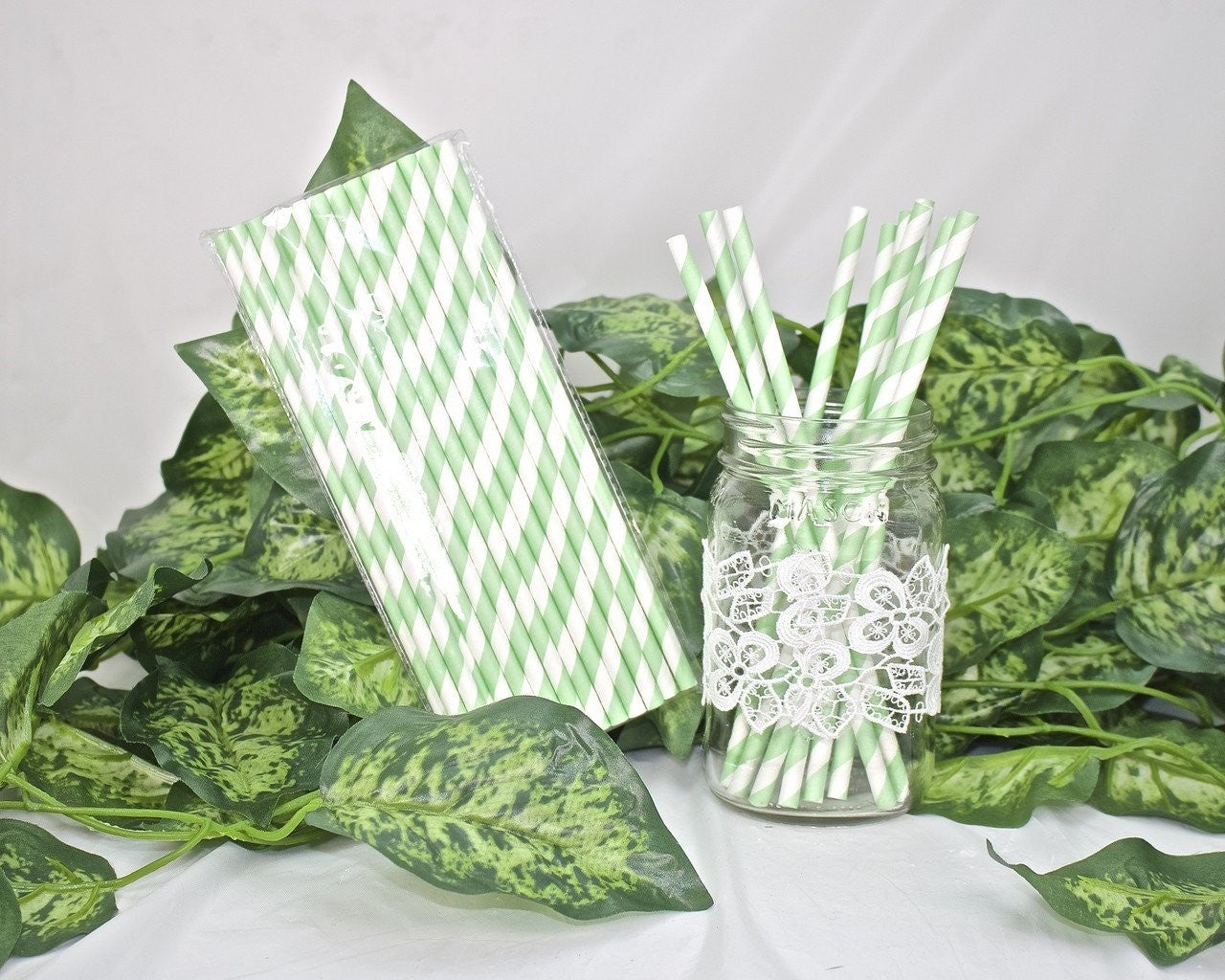 25 pcs-Paper Straws (Mint Green Stripes)