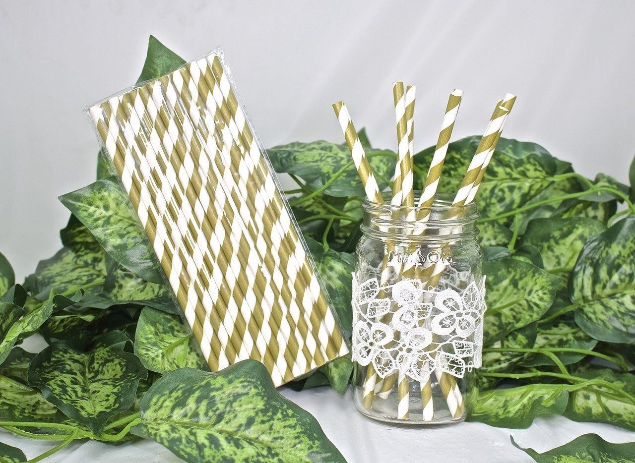 25 pcs-Paper Straws (Gold Stripes)