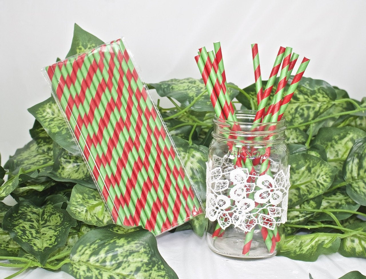 25 pcs-Paper Straws (Green & Red Stripes)
