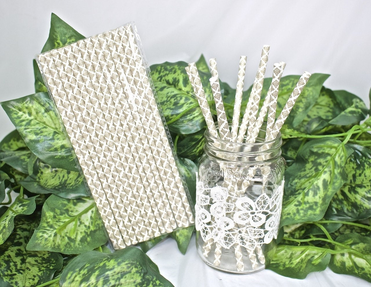 25 pcs-Paper Straws (White w/ Gold Baroque Details)