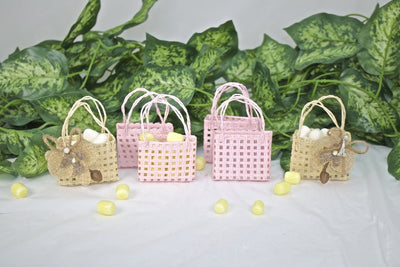 12 pcs-Checkered Square Tote Favor Bags