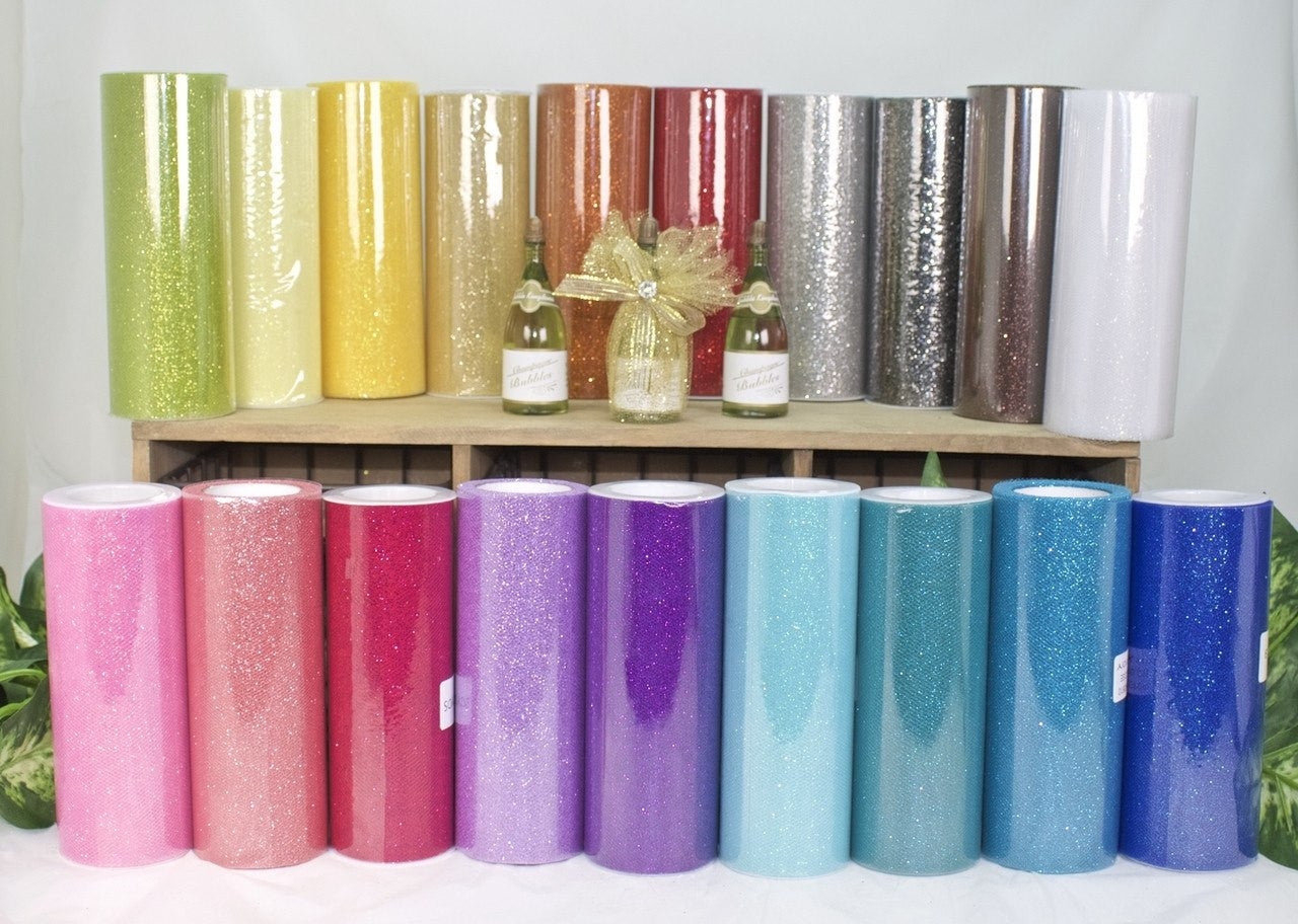 "10 yds- 6"" Glittered Tulle"