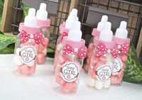 12 pcs- Pink Small Baby Favor Bottles 3.25""