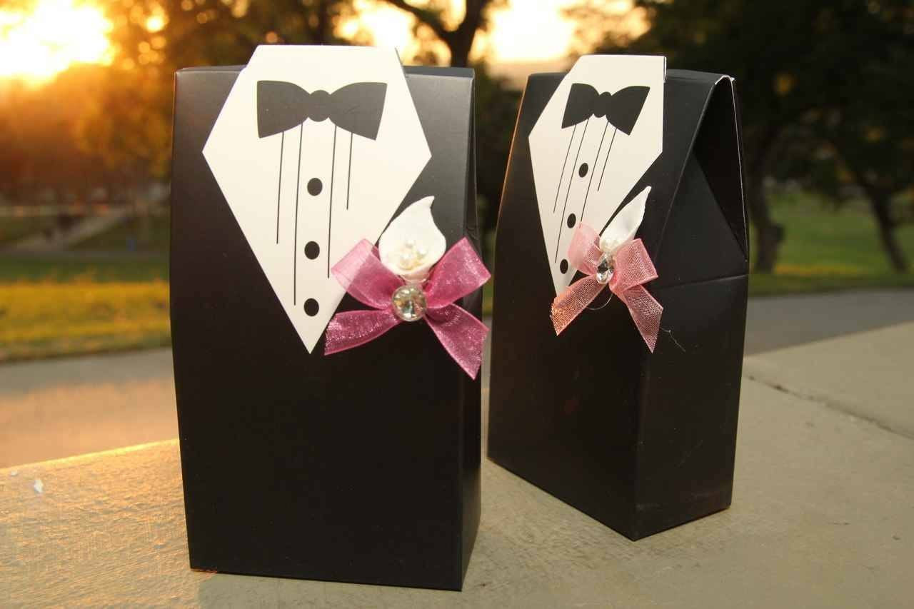 Tuxedo Favor Boxes with Crown & Candies