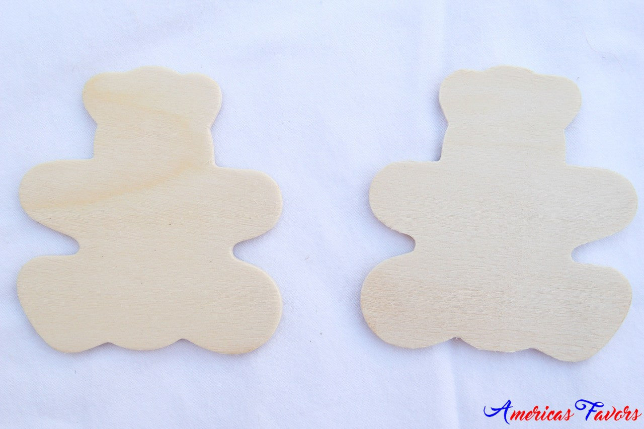 "12 pcs- 3.25"" Flat Wood Bear"