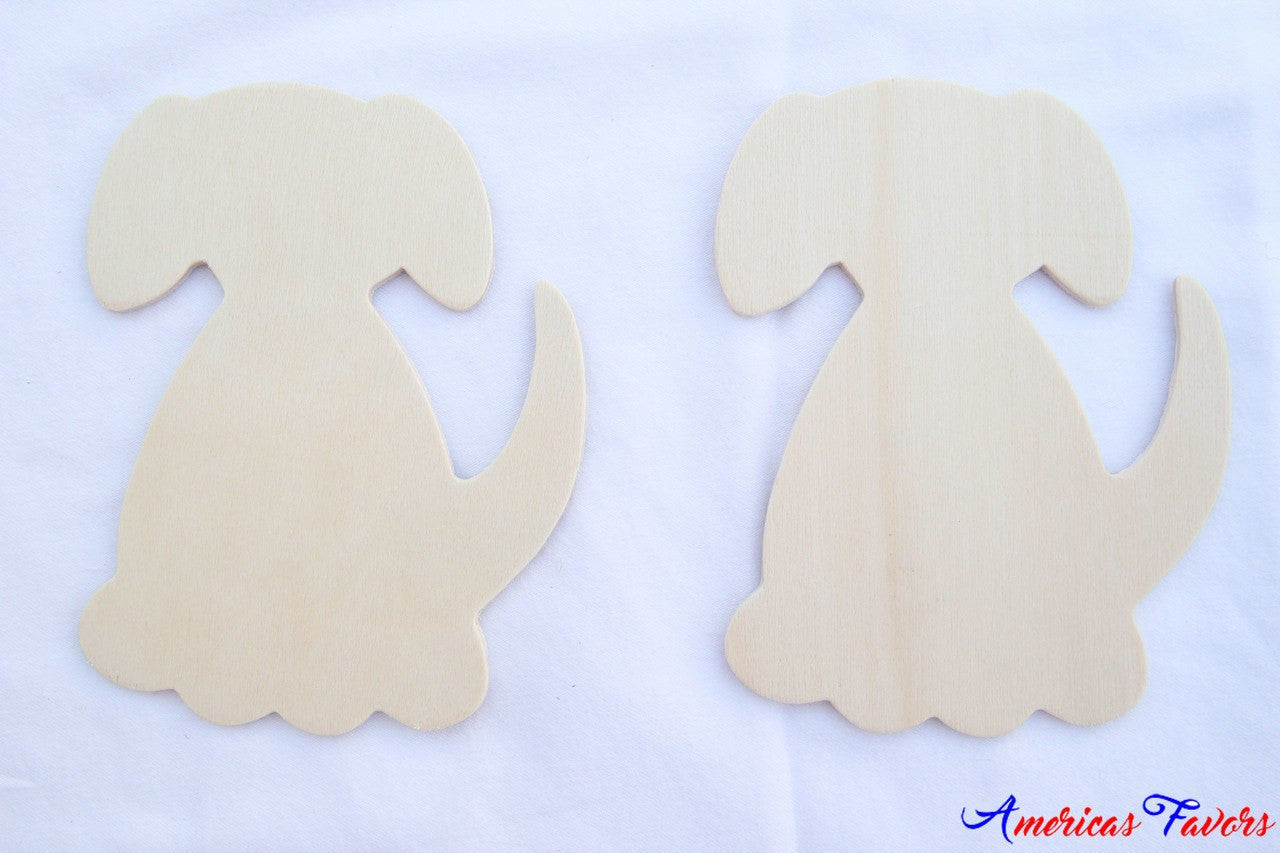 "12 pcs- 4.5"" Flat Wood Dog"
