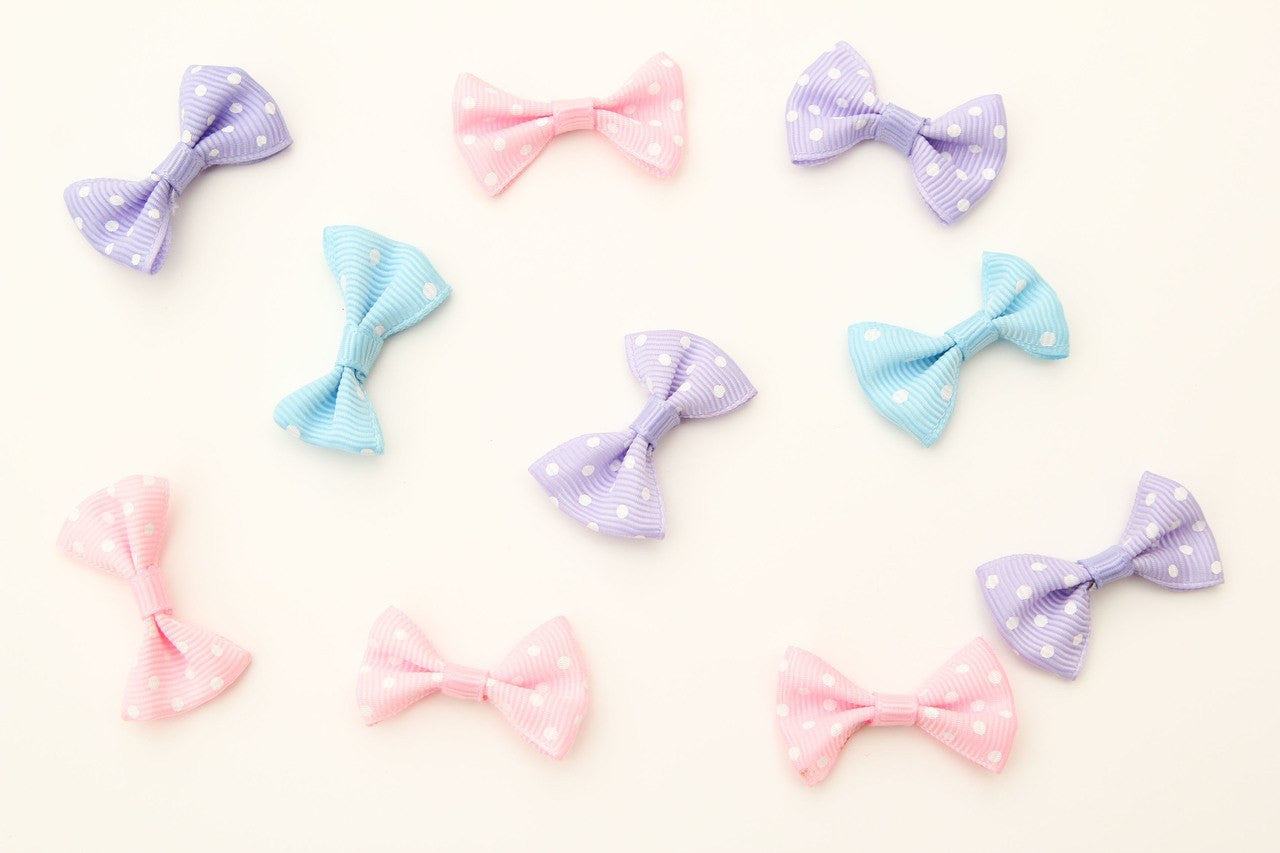 12 pcs- Polka-Dot Bow-Tie (Pink/White/Blue)