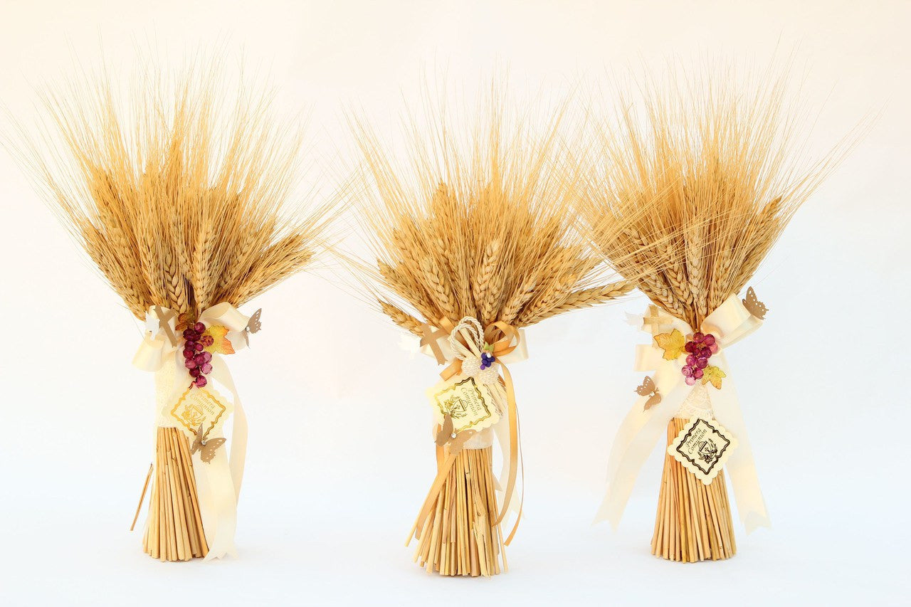 First Communion Ribbon Wrapped Wheat Centerpiece