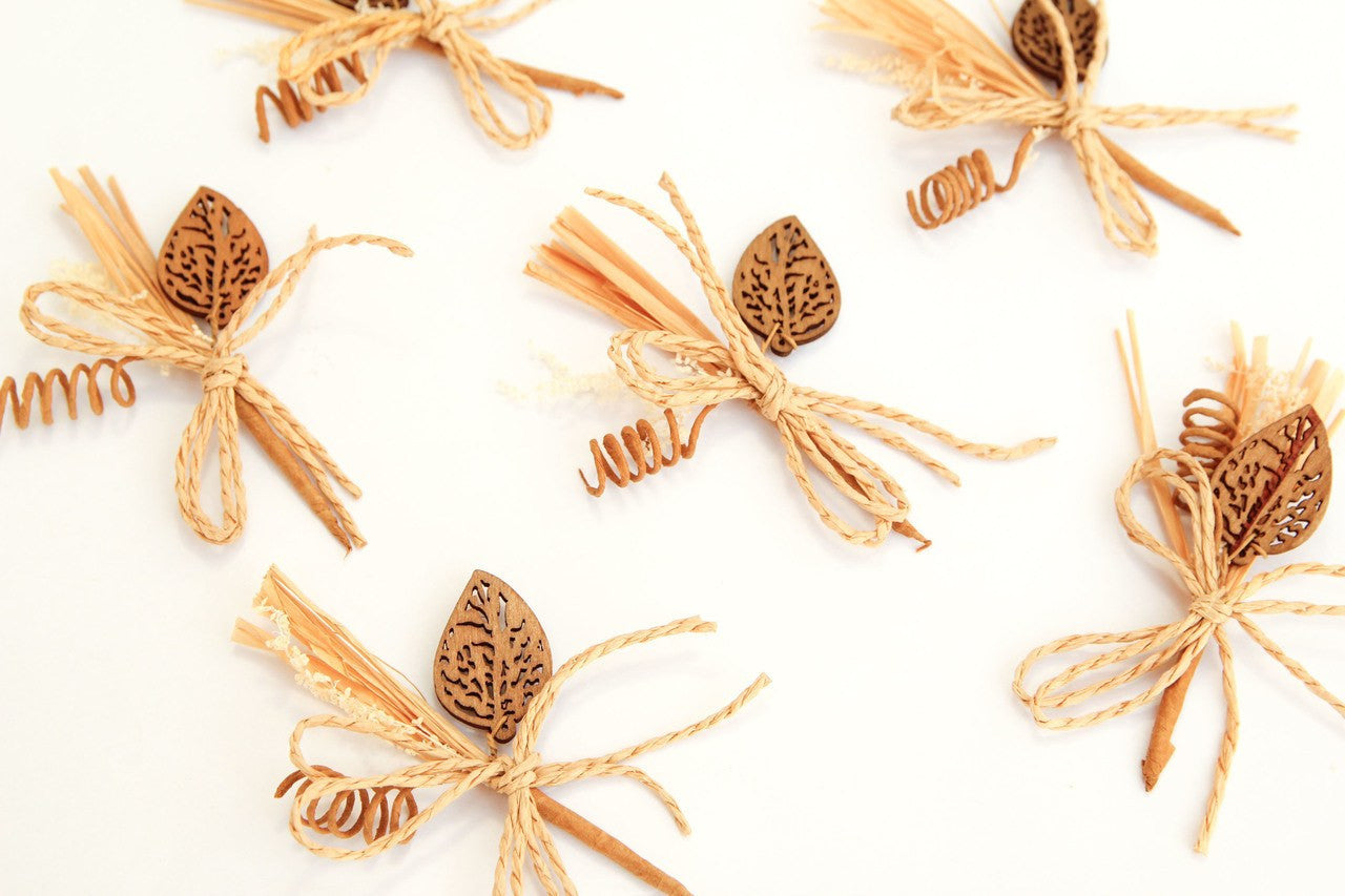 12 pcs-Wheat & Leaf Embellishment