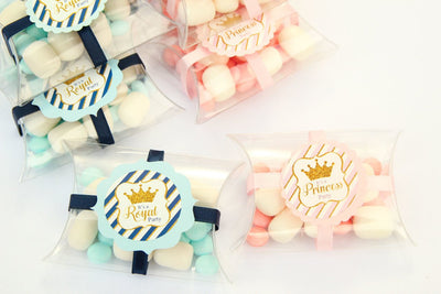 Royal Prince & Princess Pillow Favor Boxes with Marshmallow Candies